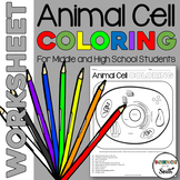Animal Cell Coloring Worksheet for Review or Assessment