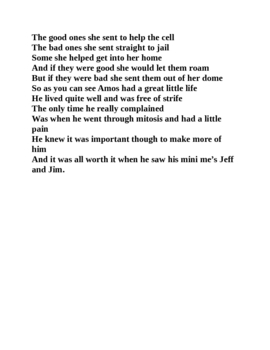 Amos the Animal Cell Poem