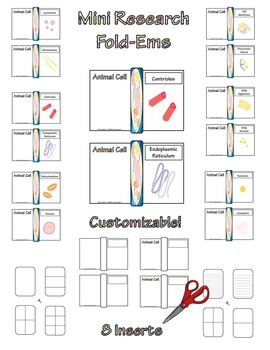 Animal Cell Research Fold-Ems, Flip-Ems, & Word Wall Activities