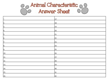 Animal Characteristic Task Cards