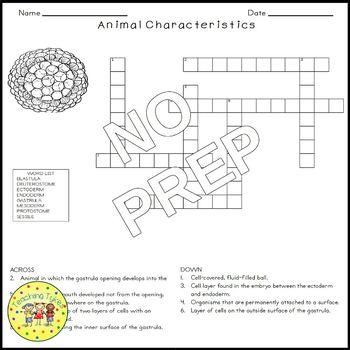 Animal Characteristics Crossword Puzzle