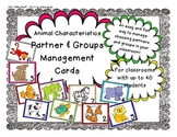 Animal Characteristics Partner & Group Management Cards (For up to 40 students!)
