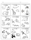 ANIMAL CHARACTERISTICS Test & Sort - English and Spanish