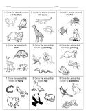 ANIMAL CHARACTERISTICS Assessment & Sort - English and Spanish