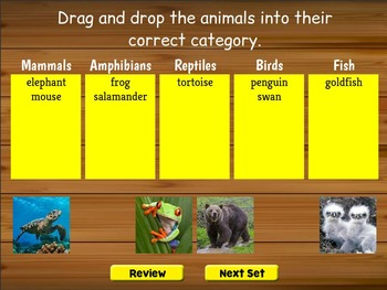 Smartboard Animal Classification Game