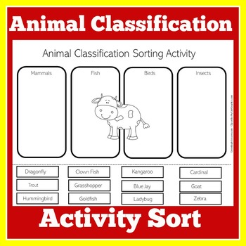 Animal Classification Worksheet Animal Classification Activity