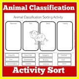 Animal Classification Worksheet Activity
