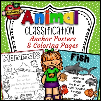 Animal Classification Anchor Posters and Coloring Pages