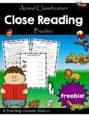 Animal Classification Close Reading Freebie