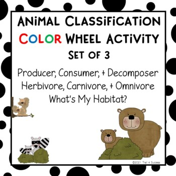 Animal Habitats, Types of Eaters, Living Things, 3 Classification Color Wheels