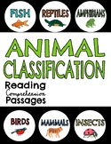 Animal Classification Informational Reading Passages & Que