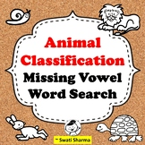 Animal Classification Missing Vowel Wordsearch Worksheets