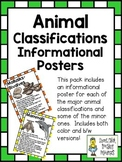 Animal Classifications Pack ~ Set of 16 Informational Posters (Color & B/W)