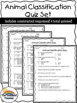 Animal Classification Quizzes- 4 total