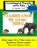 Animal Classification Review Cross Word Puzzle