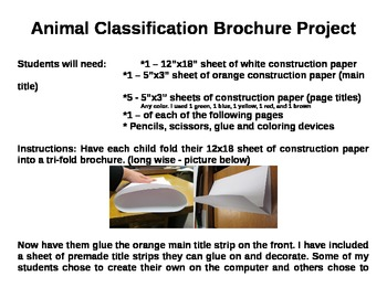 Animal Classification Science Brochure Project