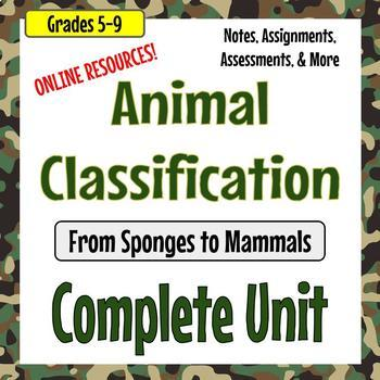 Animal Classification Unit - From Sponges to Mammals