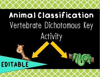 Animal Classification - Vertebrate Dichotomous Key EDITABLE- SPECIAL ORDER!