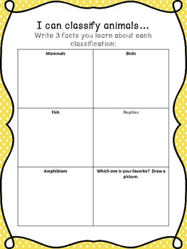 animal classification worksheet by the world in a classroom tpt. Black Bedroom Furniture Sets. Home Design Ideas