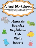Animal Classification Worksheet Pack