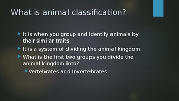 Animal Classification Writing Powerpoint