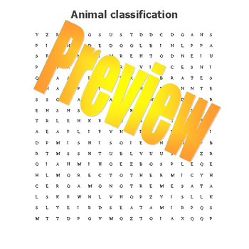 Animal Classification wordsearch with more than 30 terms