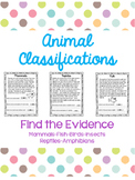 Animal Classifications (6) Find the Evidence Comprehension Checks