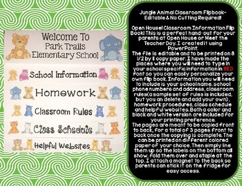 Animal Classroom Information Flipbook- Editable & NO Cutting Required!