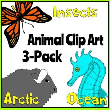 Animal Clip Art 3-Pack: Arctic Animals, Insects, Ocean Animals