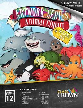 Animal Clip Art, Clipart - Oceans Pack - Animal Artwork -