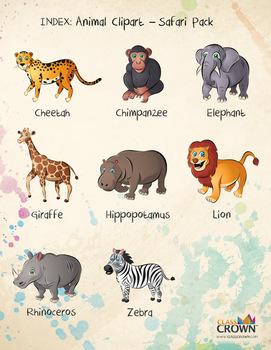 Animal Clip Art, Clipart - Safari Pack - Animal Artwork - Lion, Elephant +more