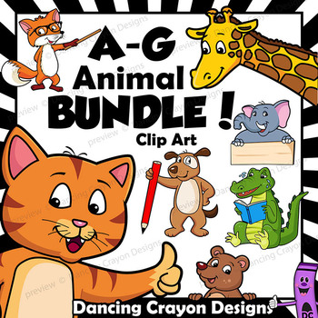 Animal Clip Art / Letters A - G BUNDLE / Alphabet Animals Series