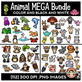 Animal Clip Art Mega Bundle | Aquatic, Farm, Forest & Wild Animals Clipart