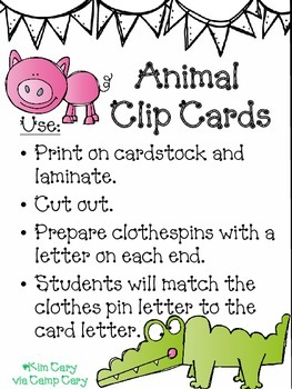 Animal Clip Cards