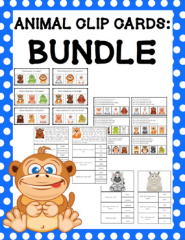 Animal Clip Cards Bundle