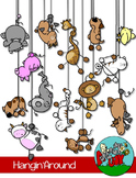 Animal Clip art Hanging from a String/Rope