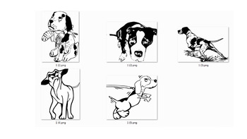 Animal Clip art Style of Dog, 5 Action
