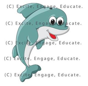 Animal Clipart - Cartoon Dolphin