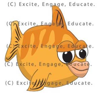 Animal Clipart - Cartoon Goldfish
