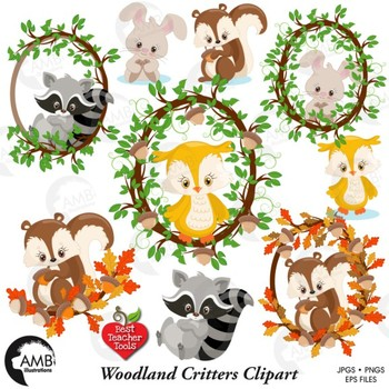 Forest Animals Clipart, Animal Faces Clip Art, {Best Teacher Tools} AMB-1178