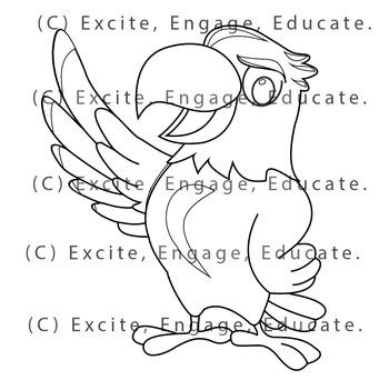Animal Clipart [Line Art] - Cartoon Bald Eagle