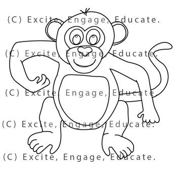 Animal Clipart [Line Art] - Cartoon Cheeky Monkey