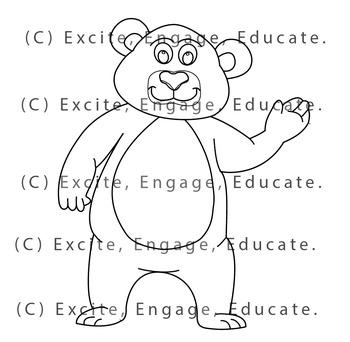 Animal Clipart [Line Art] - Cartoon Grizzly Brown Bear