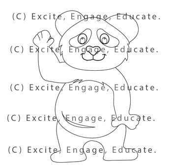 Animal Clipart [Line Art] - Cartoon Panda