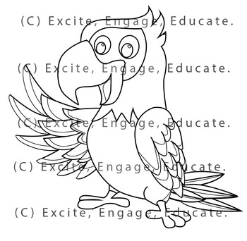 Animal Clipart [Line Art] - Cartoon Parrot