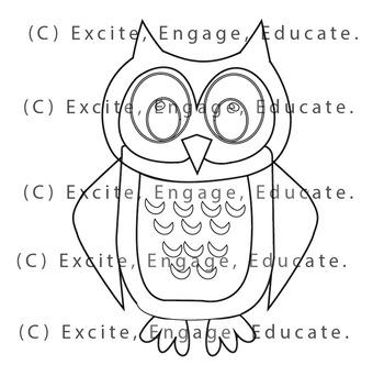 Animal Clipart [Line Art] - Cartoon Owl
