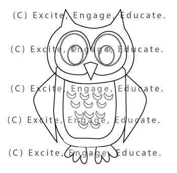 Animal Clipart [Line Art] - Cartoon Owl