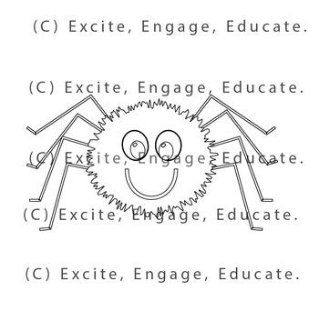 Animal Clipart [Line Art] - Cartoon Spider
