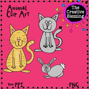 Cat and Bunny Clip Art