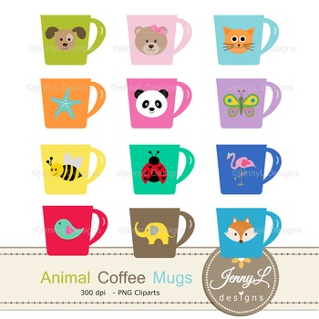Animal Coffee Mugs clipart